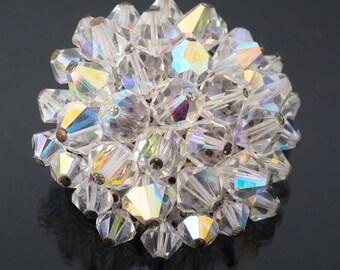 Aurora borealis cluster bead brooch, 1960s vintage