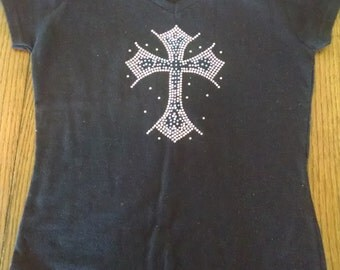 Rhinestone cross shirt