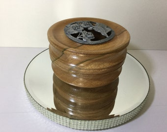 Hand turned pot pourri holder with pewter lid