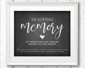 In Loving Memory Wedding Sign, Instant Download, Personalize Names, Editable Text, Rustic Chalkboard Printable Sign, PDF Template #CH09