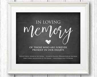 in loving memory wedding sign instant download personalize names editable text rustic chalkboard printable sign pdf template ch09