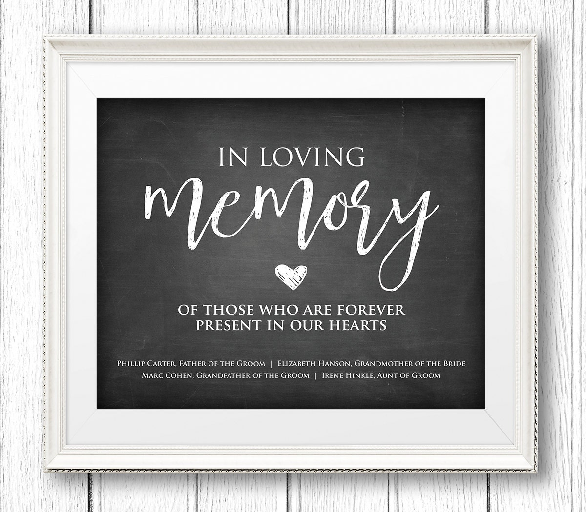 In loving memory wedding sign instant download personalize names editable text rustic for In loving memory templates free