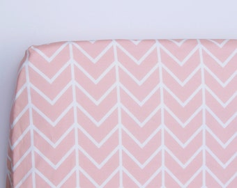 Fitted Cot Sheet. Fitted Crib Sheet. Pink Chevron. Pink Fitted Cot Sheet. Baby bedding. Cot bedding