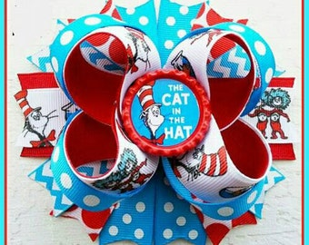 4.5 Layered Boutique bottlecap hairbow Cat in the Hat