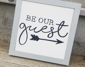 Be Our Guest Wood Sign, Guest Room Decor, Modern Wall Decor
