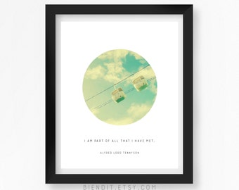 I am Part of All I That Have Met, Poetry, Alfred Lord Tennyson, Quote Print, Typography, Skyscape, Inspirational Quote, Minimalist Art