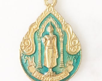 1 Piece -- Antique Brass Thai Teal Buddha Pendant