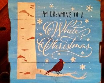 "Primitive Large ""White Christmas Cardinal"" Sign"
