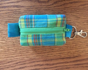 Key ring/change purse - Turquoise plaid