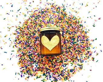 blood orange pure soy candle with a sparkly gold heart!