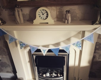 Handmade bunting- Blue- Baby Boy- 10 flags