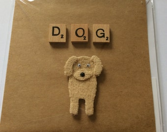 Handmade card- DOG- 6x6""