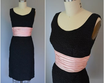 1950s Little Black Wiggle Dress with Baby Pink Sash - Size X Small / Small