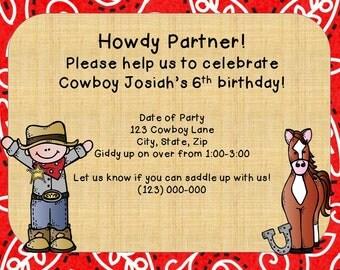 Cowboy Party Invitation-Printable PDF Invitation