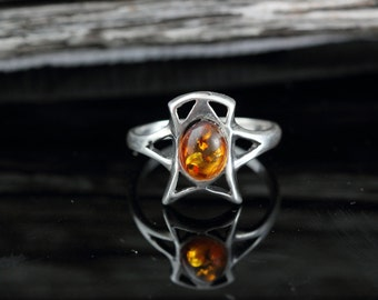 Amber Modern Retro Resin Ring Sterling Silver - Vintage Ring 925 - Size 8