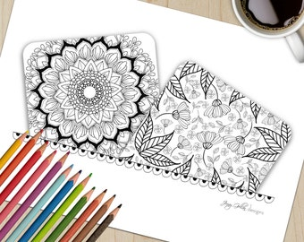 Adult Colouring Page Tangle Cards
