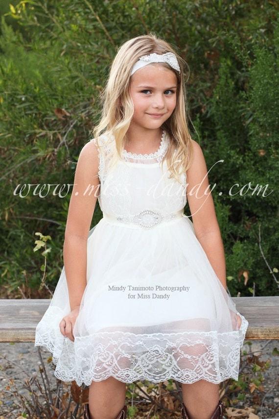 Grace Dress- Off White Lace Flower Girl Dress, French Lace & Rhinestone Sash Dress, Girls Lace dress, Boho Bohemian dress, Lace flower dress