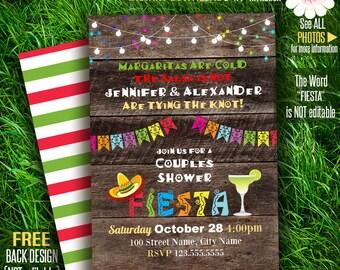 Couples Shower Fiesta invitation, Rustic Fiesta invitation, Mexican party invite, Printable Self Editable PDF File A171