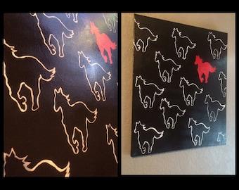 White pony painting