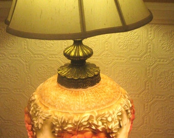 Hollywood Regency, 1970s High Relief Grape Design Lamp--EF & F Industries or Falkenstein Style