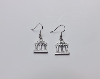 Parthenon earrings silver pewter surgical steel Nashville USA-made lead-free