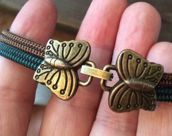 Zippers with butterfly clasp bracelet