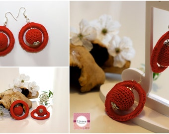 Handmade crochet earrings, crochet, cotton, red, sphere-model Universe