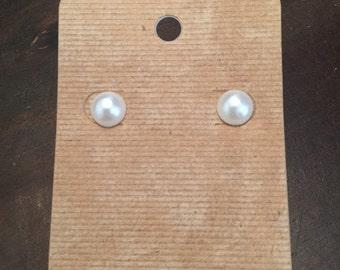 8mm half moon pearl earrings