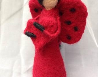 Lady Lovebug Waldorf/Steiner Needle Felted Wool Doll