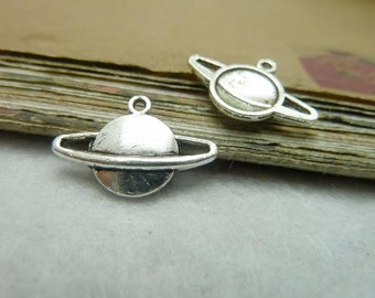 50 Planet Charms Antique Silver Tone Saturn with Rings (YT7730)