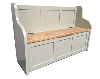 Rustic Style Monks/Bench/Settle/Pew with Storage (Can be Made to any size)