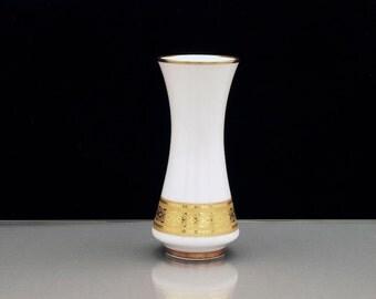 Rare Porcelain Vase with 24k Gold Decor Johann Seltmann Bavaria Vohenstrauss WGP Vintage
