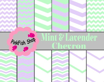 Mint and Lavender Chevron Papers (12 pack)