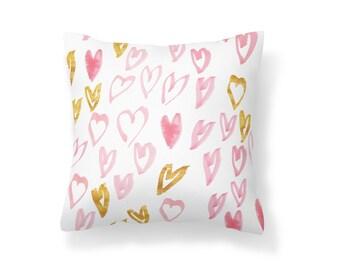 Throw Pillow Heart, Decroative Pillow, Heart Pillow, Gold Pillow, Pink pillow, White pillow