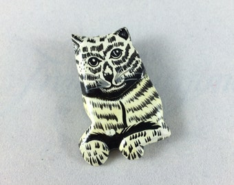 Vintage Cat Brooch - Hand Painted Wooden Kitty Pin - Retro Gift - Estate Jewelry