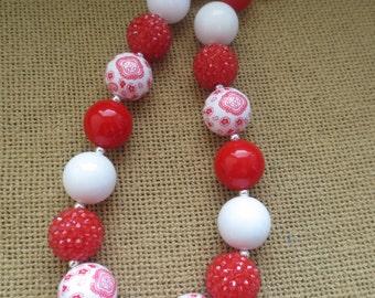 Red bandana print chunky bead necklace