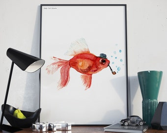 Goldfish with Bowler Hat and Pipe- Unique Original Illustration - Wall Art Print - Poster