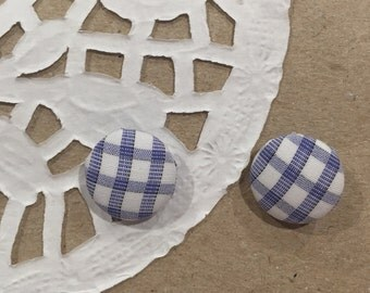 Blue patterned, fabric earrings