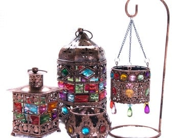 Moroccan bejeweled Lanterns & candle holders