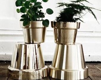Metalic terra cotta pots