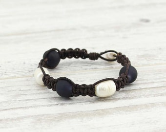Rice and potato pearl frosted glass bead leather braided bracelet, woven bracelet, leather bracelet, pearl jewelry, S 384