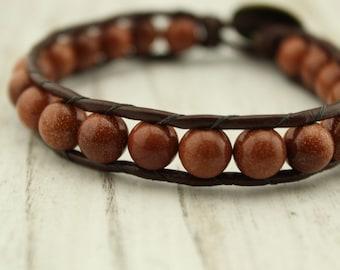 Natural sand stone beaded bracelet, wrap bracelet, S 197