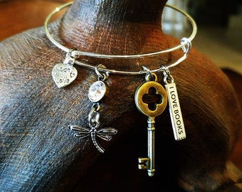 Dragonfly & Key Bangle Bracelet, Charm Bracelet