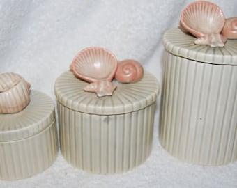 Vintage Fitz & Floyd Shell Canister JARS--Set of 3