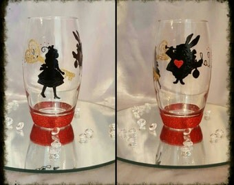 Hand painted Alice in wonderland glass