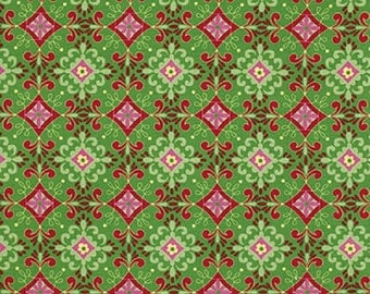 "Dena Designs  FreeSpirit ""Love & Joy""  Floral Green Cotton Fabric"