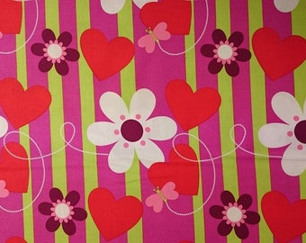 FreeSpirit Hallmark Collection Butterfly Stripe Hearts and Flowers Cotton Fabric