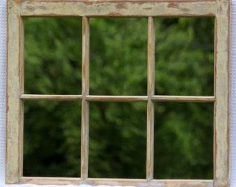 Old Window Mirror: Rustic Barn Window