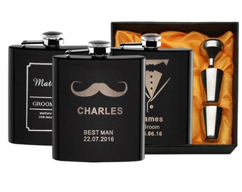 Personalized Set Engraved 6 oz Black Flask, Stainless Steel, Wedding or Birthday gift, Grooms man Gift