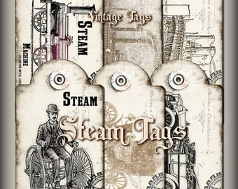 Steam Tags, Steampunk Tags,Printable Gift Tags,Vintage tags,Hobby crafting,Digital collage sheet Instant Download